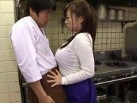 Busty Milf Restaurant Chef Cornered And Fucked Shy Kitchen Helper Boy