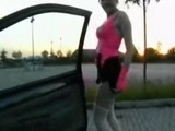 Very hot teen hooker picked up and fucked in car