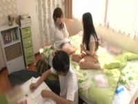 Japanese Boy Gets Fucked By Sisters Slutty Teen Girlfriend After Sister Went to Take Shower