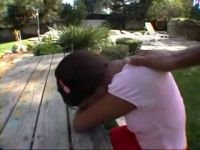 Good Old Neighbor Helps Crying Ebony Teen To Forget About Her Current Problems