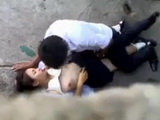 Asian Students Gets Caught Fucking Outdoors
