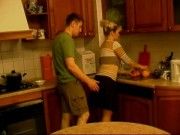 Milf Stepmom Gets Suddenly Swooped and Fucked In Kitchen