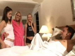 Mother Brought Her Naughty Teen Daughters To Get To Know Better Their New Stepdaddy