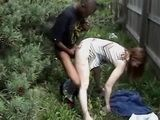 Amateur Interracial Fuck at Work Place In Bushes