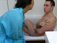 Hot Stepmom Loves To Bath Her Stepson Like He Was A Little Boy
