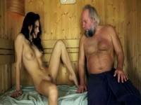 Naughty Babe Seduced Old Grandpa In Sauna