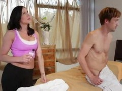 Stunning Hot Milf Masseuse Having Problem With Too Shy Guy