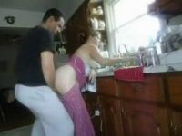 Homemade Morning Quickie With Dish Washing Wife In Kitchen