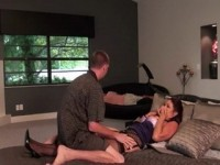 While Father Sleeps Busty Milf Stepmom Is Having Problem With Her Horny Teenage Stepson